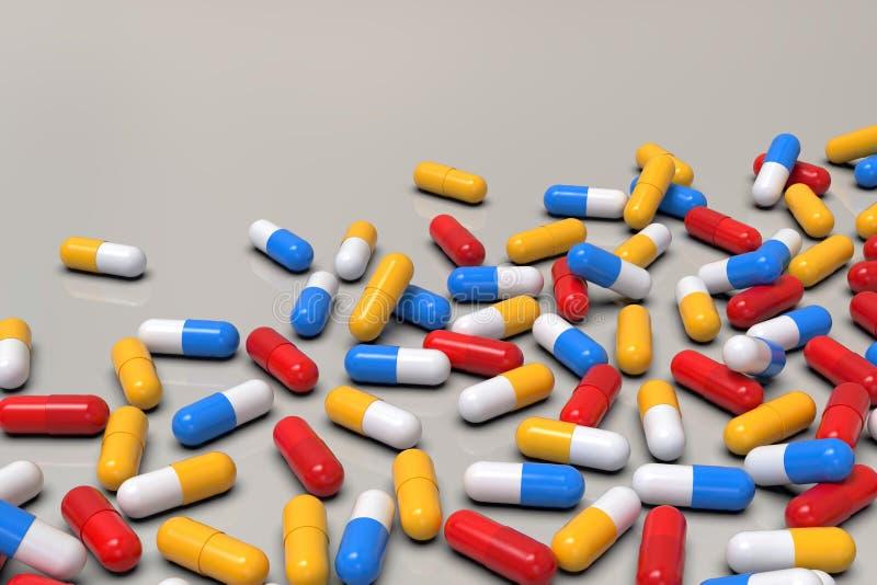Kolorowe medycyn kapsuły na lekkim tle, horyzontalnym ilustracja wektor
