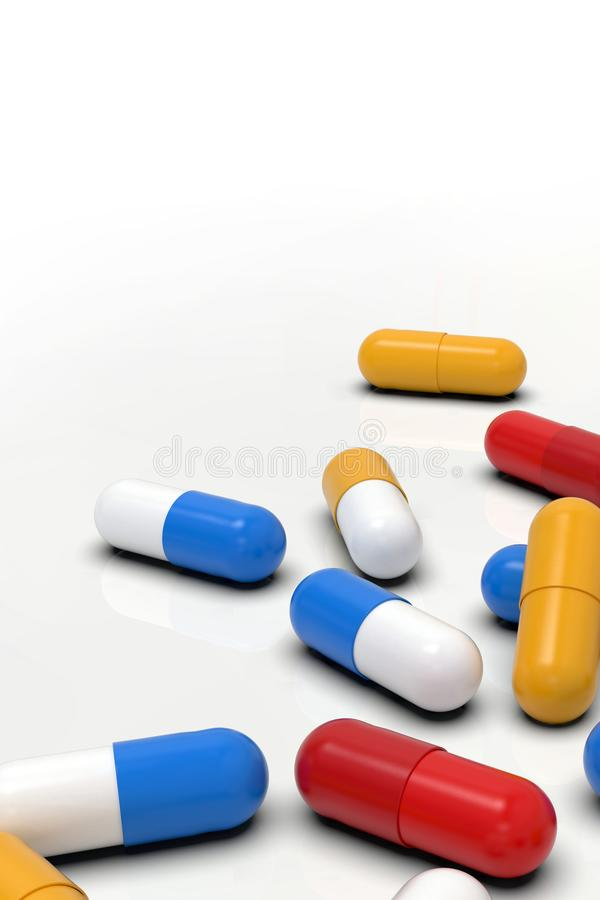 Kolorowe medycyn kapsuły na lekkim tle, zbliżenie royalty ilustracja