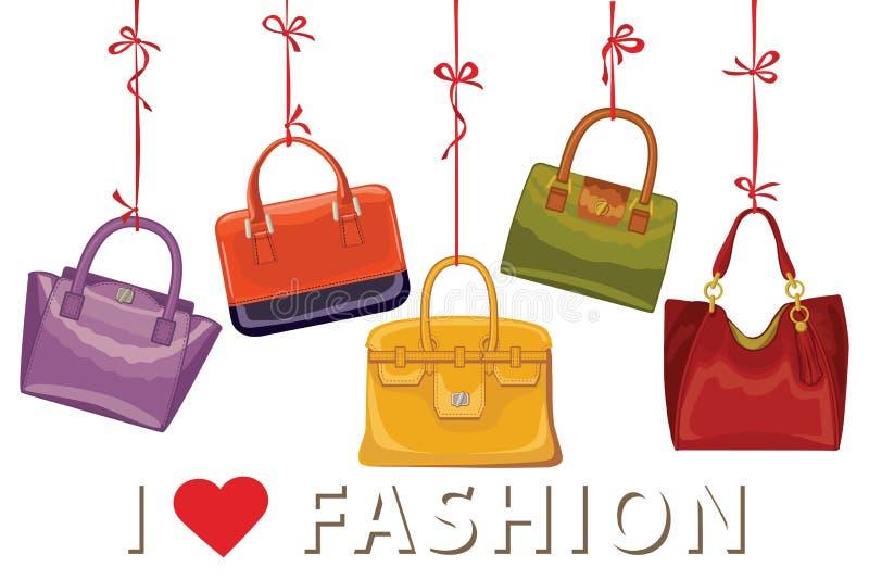 Kolorowe mod torebki Jesień wektor royalty ilustracja