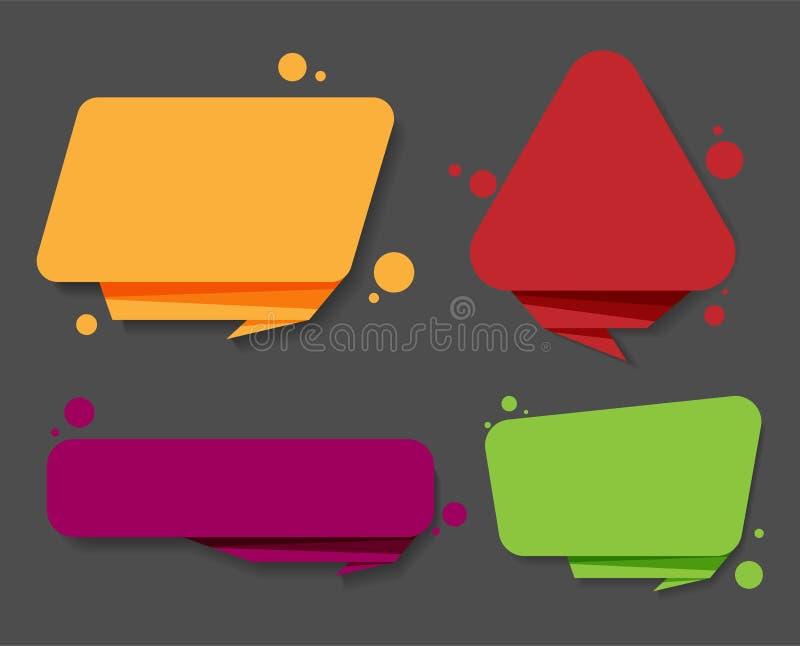 Kolorowe mowa etykietki odizolowywać na popielatym ilustracji