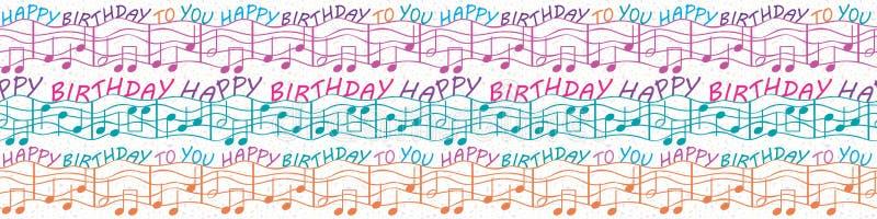 Kolorowe muzykalne urodzinowe gratulacje graniczą z tekstem i muzykalnymi notatkami Bezszwowy wektoru wzór w purpurach, błękitnyc ilustracja wektor