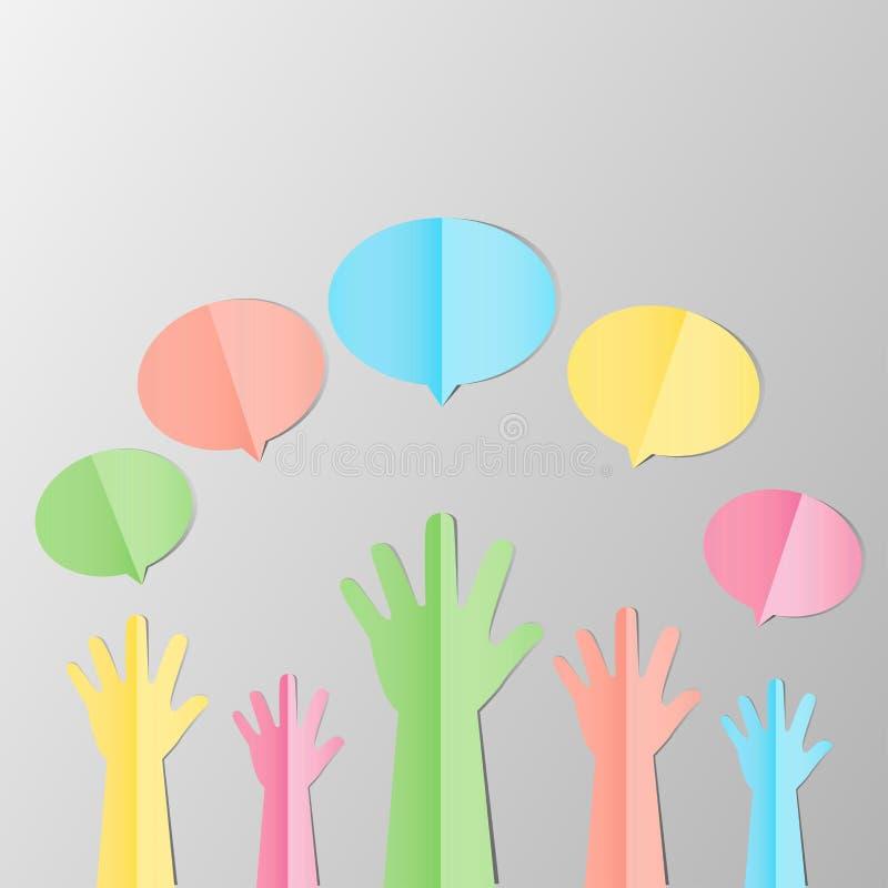 Kolorowe Nastroszone ręki up z pustym bąblem dla zgłaszać się na ochotnika lub f royalty ilustracja