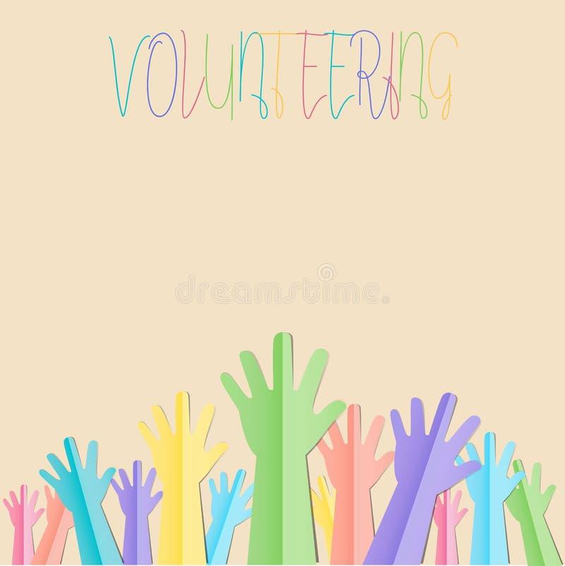 Kolorowe Nastroszone ręki up z tekstem dla zgłaszać się na ochotnika lub podążają yo ilustracji