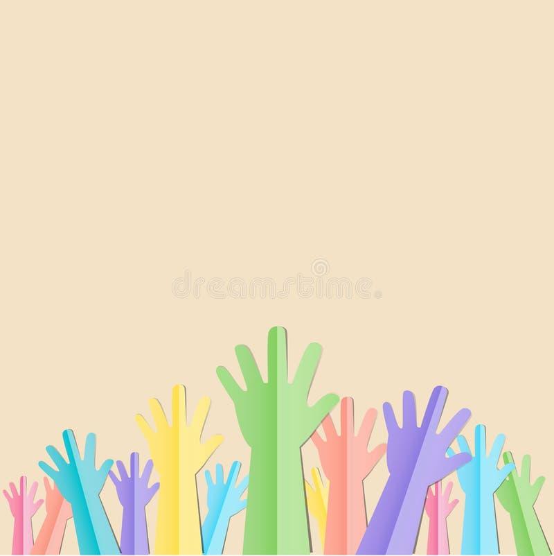 Kolorowe Nastroszone ręki up z tekstem dla zgłaszać się na ochotnika lub podążają yo royalty ilustracja