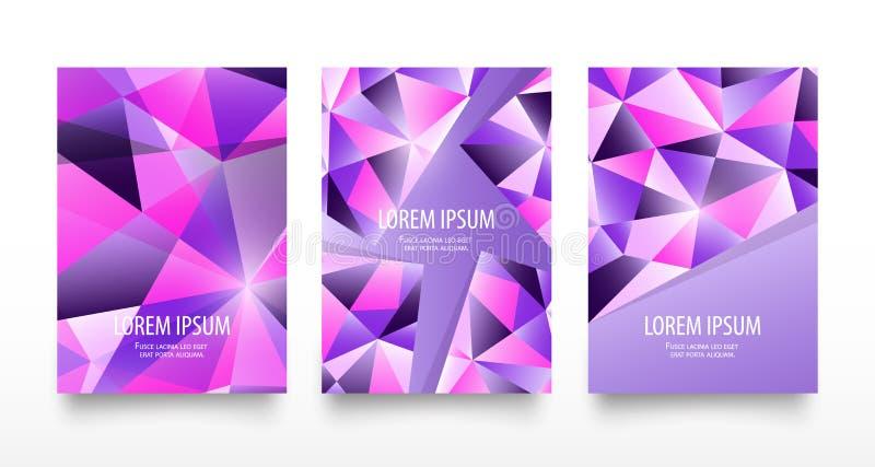Kolorowe nowożytne geometryczne krystaliczne abstrakcjonistyczne ulotki lub karta set Modni jaskrawi purpurowi fiołków kolory Pię ilustracja wektor