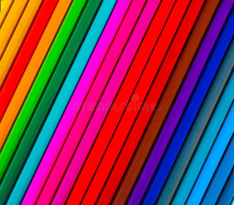 kolorowe ołówki kreskowi Tło dla twórczości zbliżenia obrazy stock