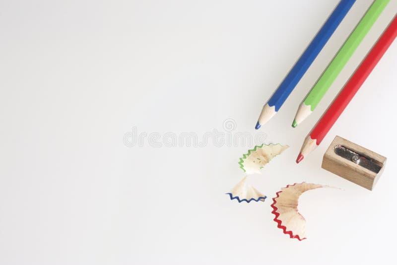 kolorowe ołówki ostrzący fotografia royalty free