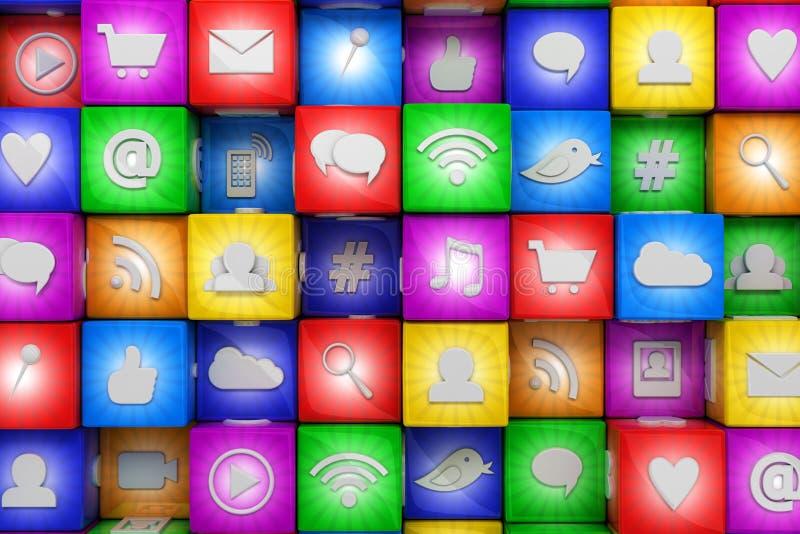 Kolorowe ogólnospołeczne medialne ikony ilustracji