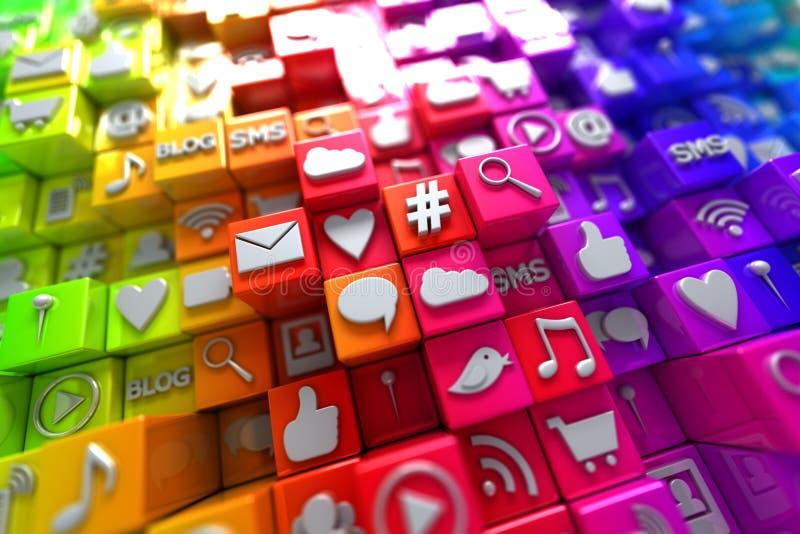 Kolorowe ogólnospołeczne medialne ikony royalty ilustracja