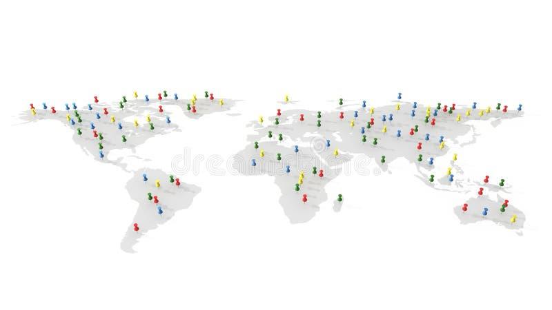 Kolorowe pchnięcie szpilki, thumbtacks na światowej mapie, 3d ilustracja royalty ilustracja