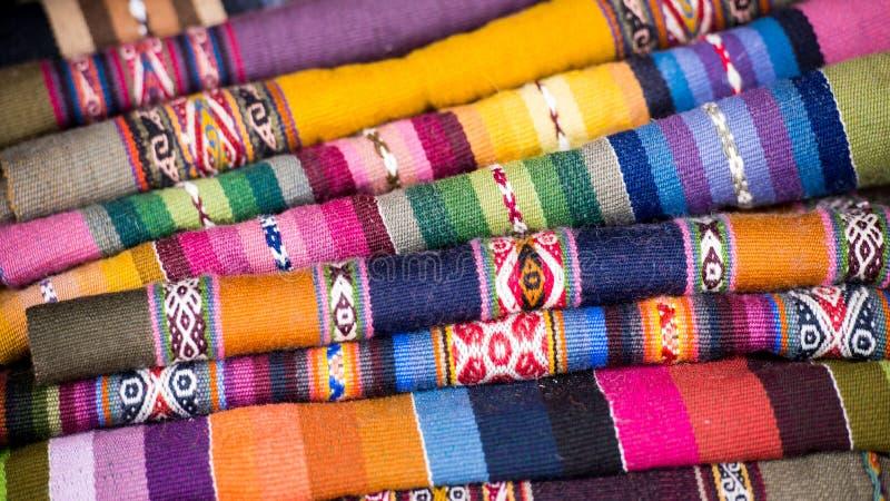 Kolorowe Peruwiańskie Alpagowe wełien tkaniny zdjęcie royalty free