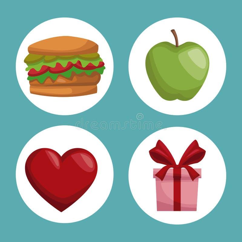 Kolorowe plakatowe ikony w kurendy ramie elementów zdrowi karmowi prezenty ilustracja wektor