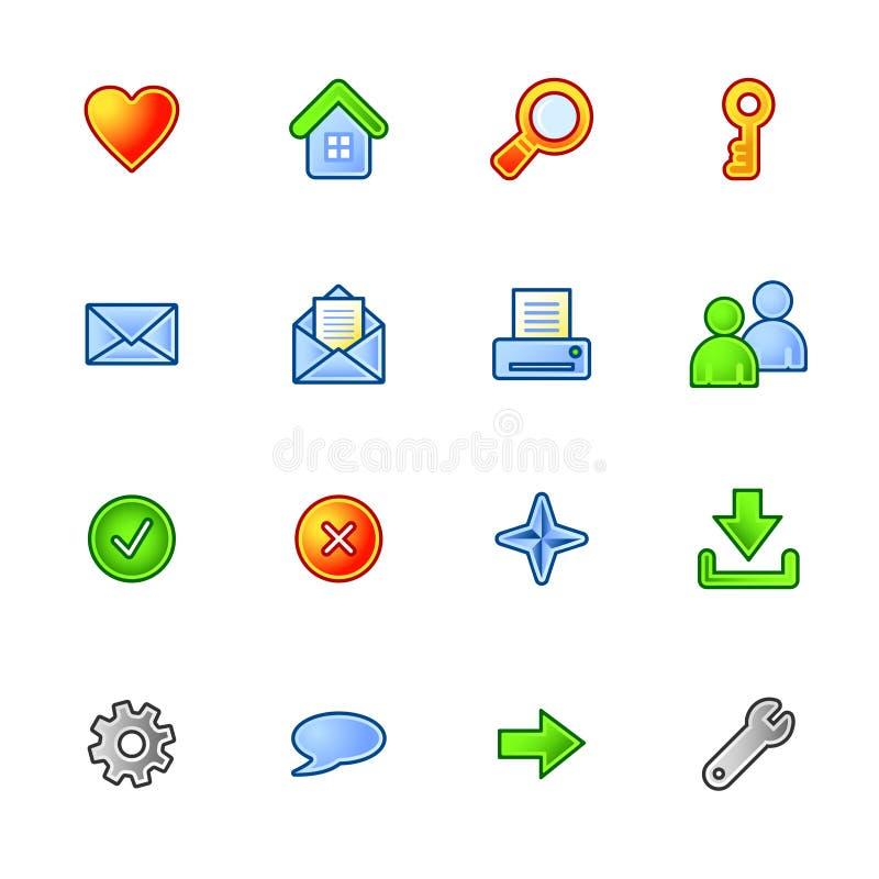 kolorowe podstawowa ikony sieci ilustracja wektor