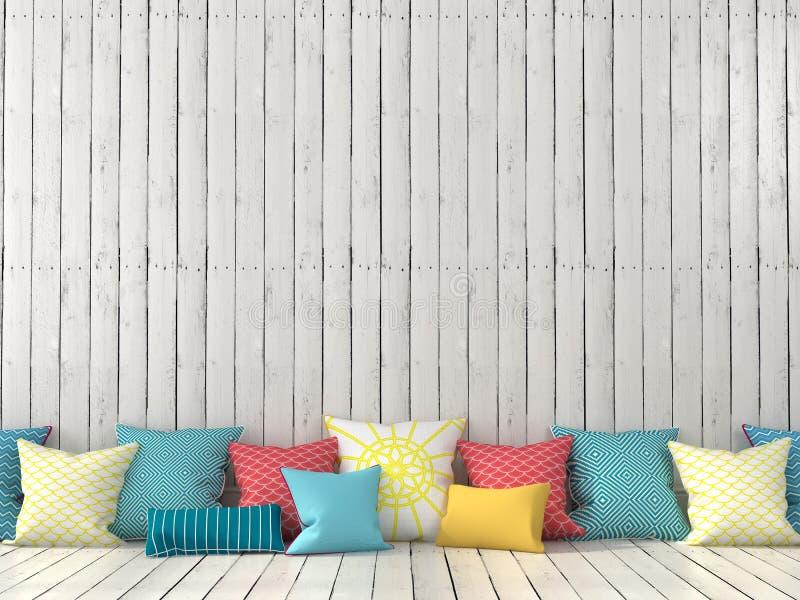 Kolorowe poduszki i ściana z białymi deskami fotografia royalty free