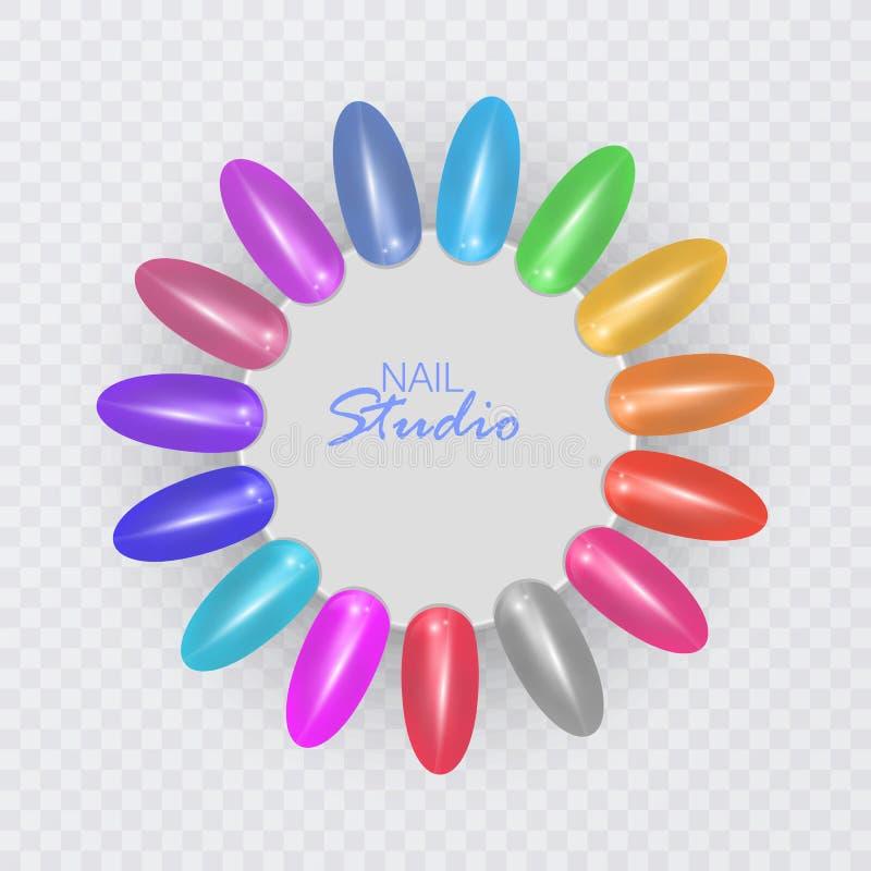 Kolorowe porady Set fa?szywi gwo?dzie dla manicure'u Lakiernicza kolor paleta dla gwo?dzia rozszerzenia owalna paleta z sztucznym royalty ilustracja