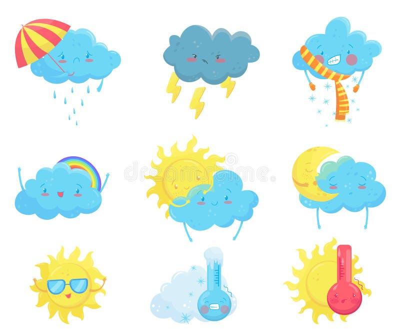 Kolorowe prognoz pogody ikony Śmieszny kreskówki słońce, chmury i Urocze twarze z różnorodnymi emocjami Płaski wektor dla ilustracji