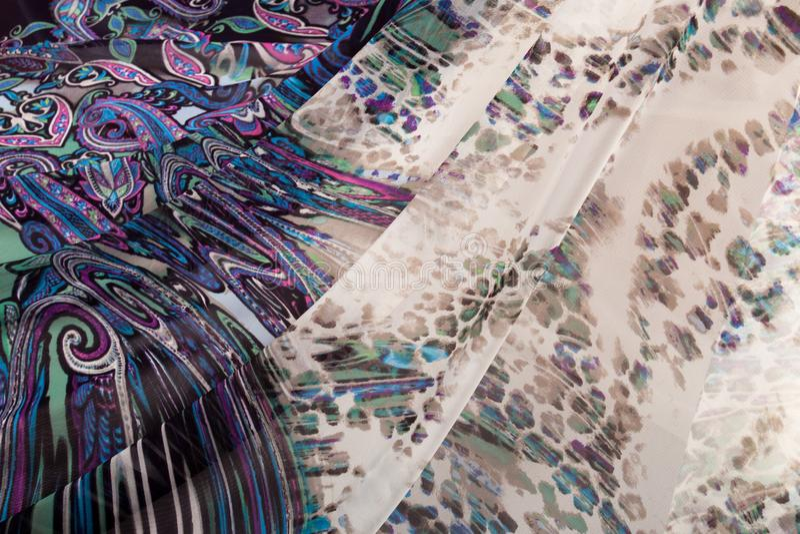 Kolorowe pstrobarwne tkaniny obraz royalty free