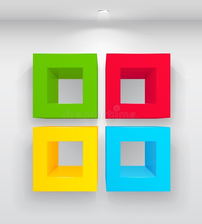 kolorowe puste półki ilustracji