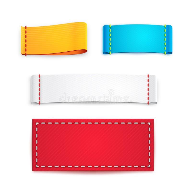 Kolorowe Puste tkanin etykietki, odznaki lub ilustracji
