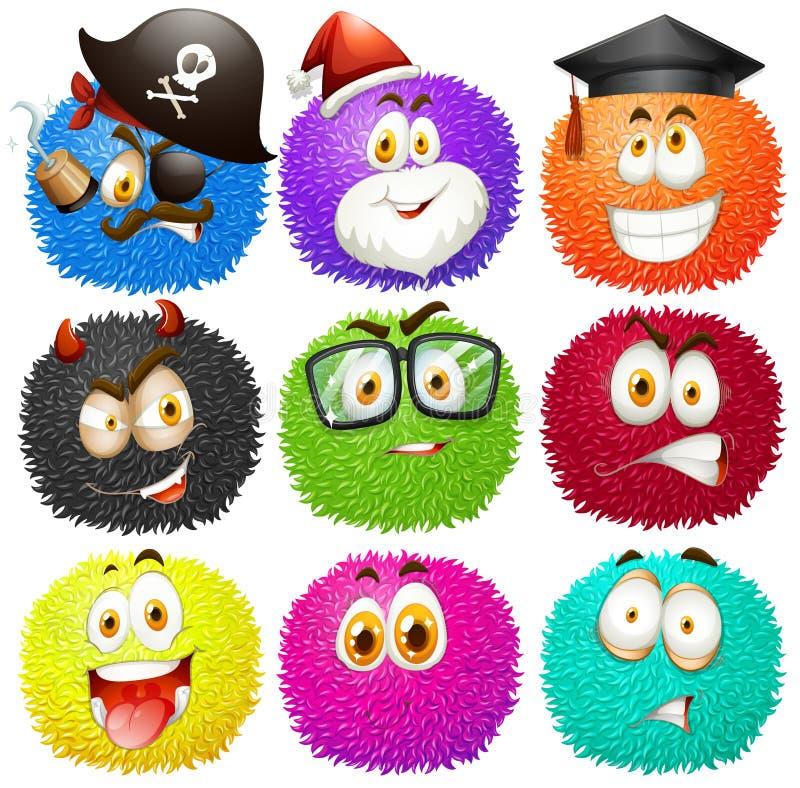 Kolorowe puszyste piłki z twarzami ilustracji