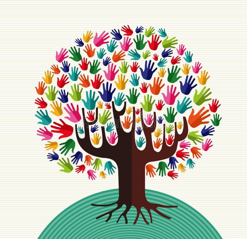 Kolorowe różnorodności drzewa ręki royalty ilustracja