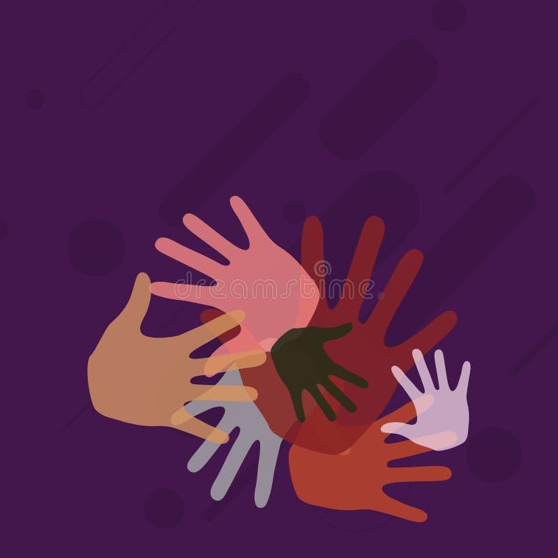 Kolorowe ręk oceny Różny rozmiarów Pokrywać się Nadległy Kreatywnie tło pomysł dla Drużynowej Bulding prezentacji ilustracja wektor