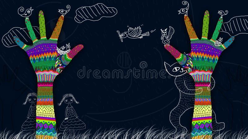 Kolorowe ręki dosięga w górę abstrakcjonistycznego drzewa ilustracji