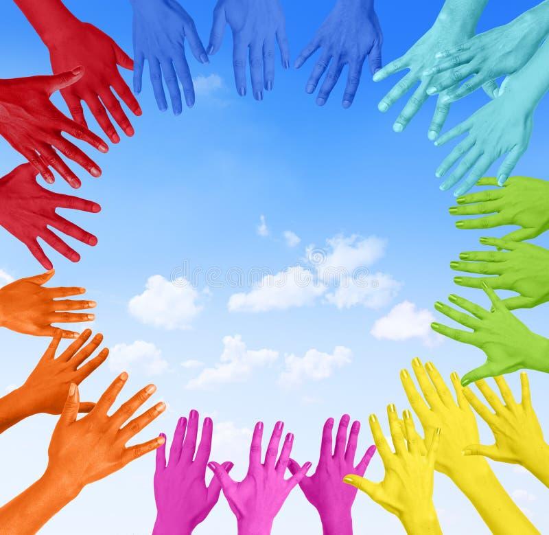 Kolorowe ręki W okręgu obraz stock