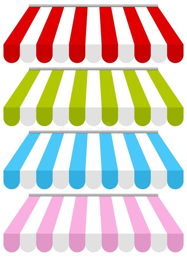 Download Kolorowe Sklepowe Markizy Ustawiać Ilustracja Wektor - Obraz: 28586376