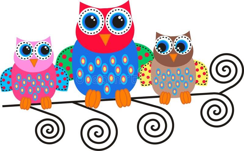 kolorowe sowy royalty ilustracja