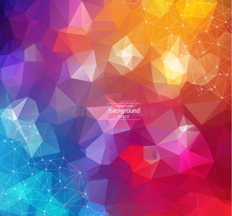 kolorowe tła abstrakcyjne Abstrakcjonistyczny poligonalny tło z łączyć kropkuje i wykłada Podłączeniowa struktura Wektorowy nauka ilustracji
