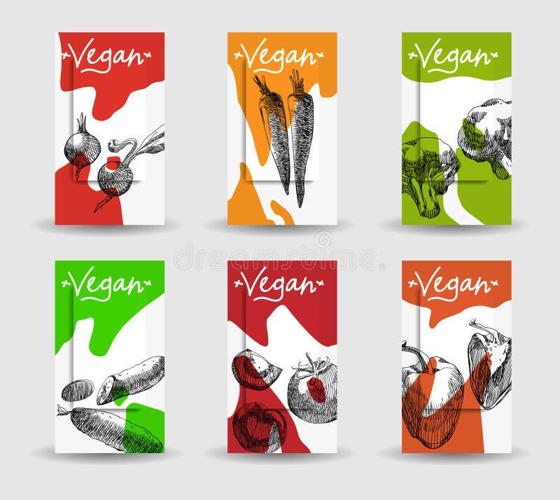 Kolorowe weganin karty z warzywami ilustracji