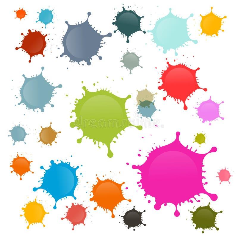 Kolorowe wektor plamy, kleksy, pluśnięcia Ustawiający ilustracja wektor