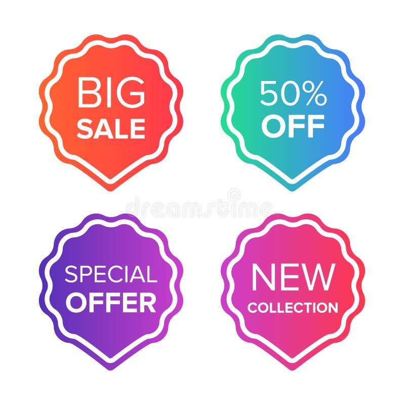 Kolorowe wektorowe sprzedaży etykietki, odznaki ustawiający i Duża sprzedaż, specjalna oferta, cena daleko, nowe inkasowe odznaki ilustracji