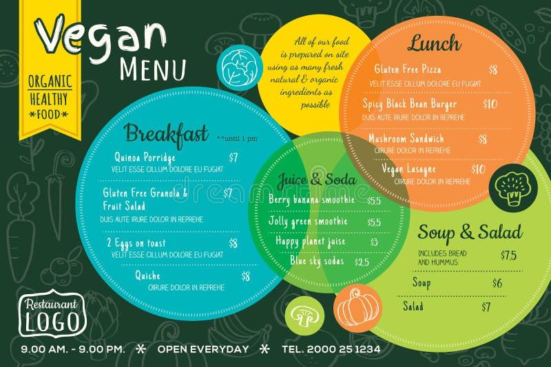 Kolorowego żywność organiczna weganinu menu restauracyjna deska lub miejsce maty szablon ilustracji
