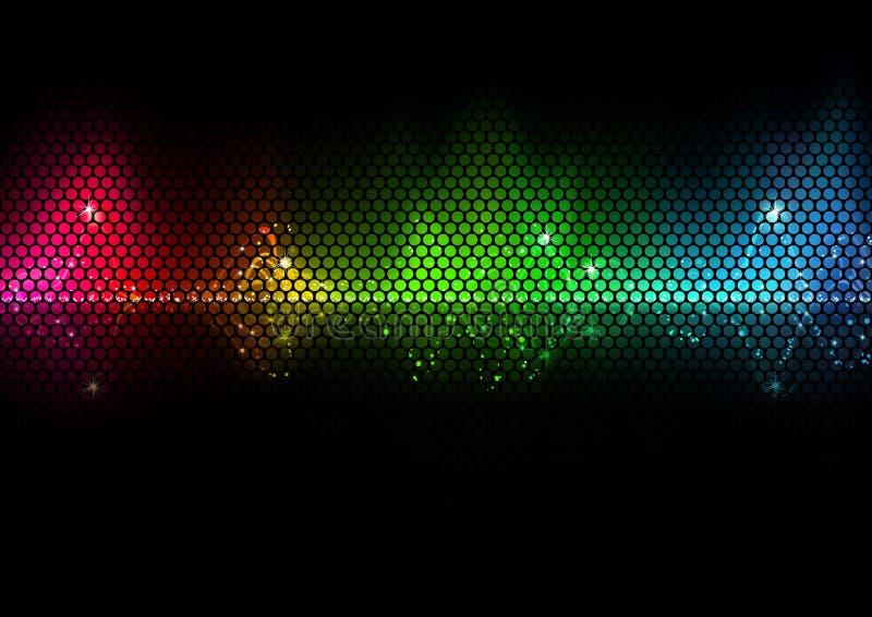Kolorowego audio Falowa i Druciana siatka ilustracja wektor