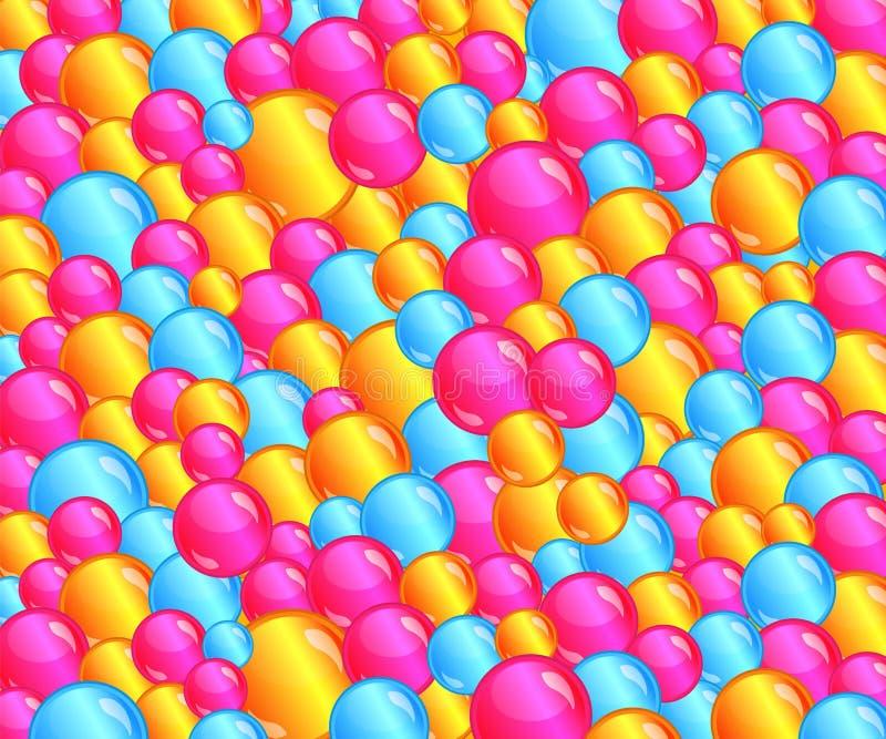 Kolorowego bąbla jamy balowy tło wypełniający z zabaw menchiami, kolor żółty, błękit gulgocze ilustracja wektor