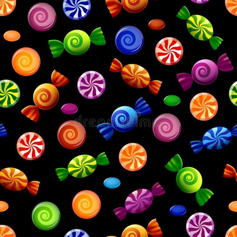 Kolorowego cukierku bezszwowy wzór ilustracji