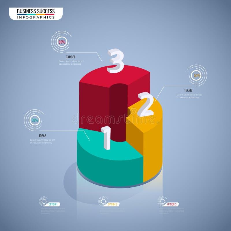 Kolorowego 3D wykresu schodowy krok sukcesu biznesowego pojęcia infographic szablon Może używać dla obieg układu, diagram sieci p ilustracji