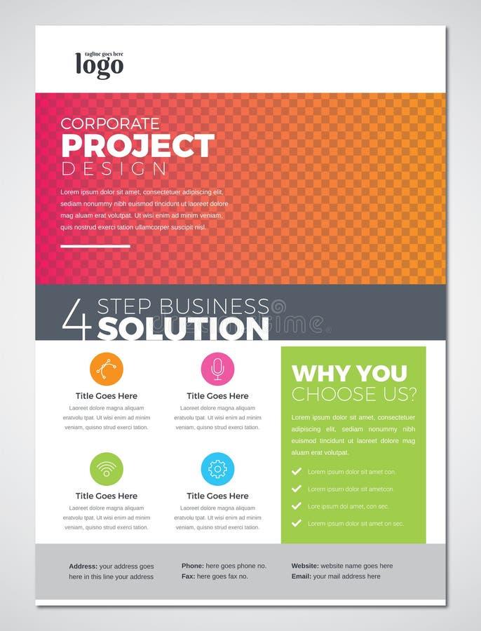 Kolorowego druku ulotki projekta Gotowy Biznesowy szablon royalty ilustracja