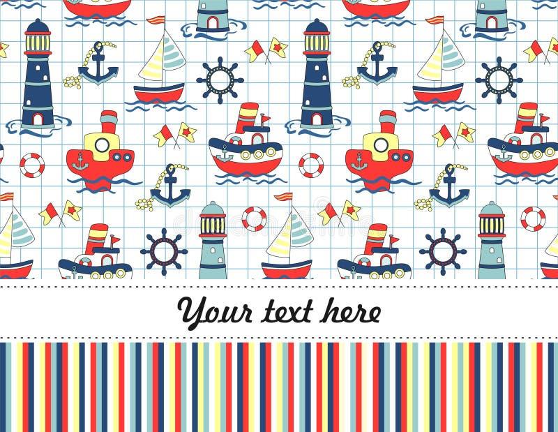 Kolorowego dziecka podróży bezszwowy tło Wszystkiego Najlepszego Z Okazji Urodzin zaproszenie lub kartka z pozdrowieniami ilustracja wektor