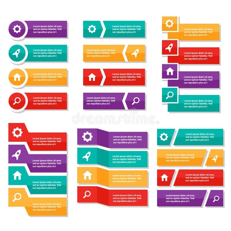 Kolorowego etykietki Infographic elementów prezentaci szablonu płaski projekt ustawia dla broszurki ulotki ulotki marketingu royalty ilustracja