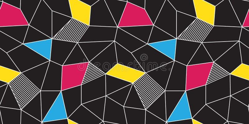 Kolorowego Geometrycznego trójboka abstrakcjonistycznego wieloboka wektorowy bezszwowy wzór odizolowywał tapetowego tła czerń ilustracja wektor