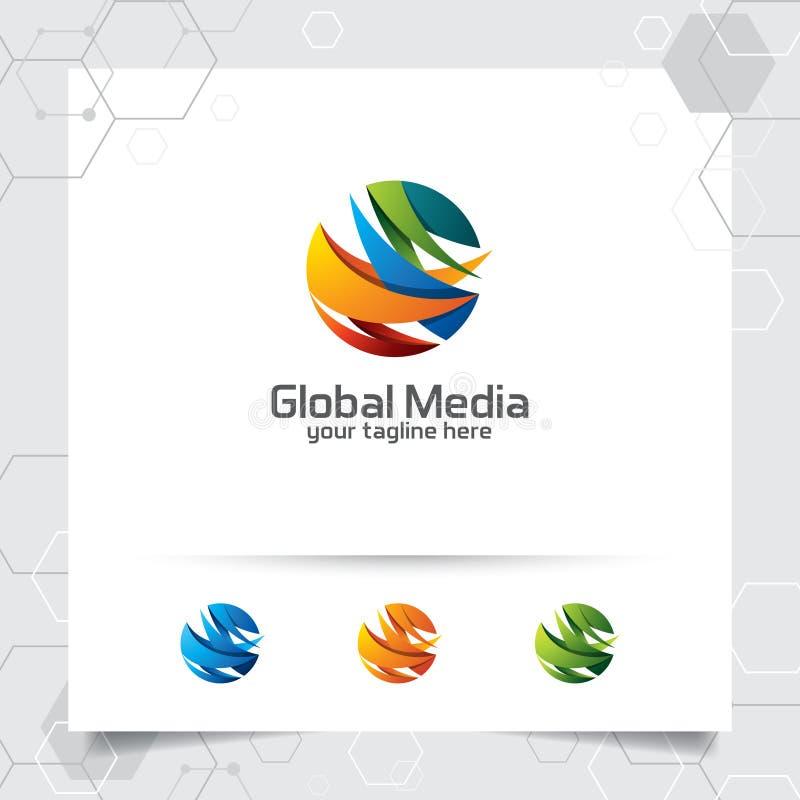 Kolorowego globalnego logo wektorowy projekt z strzałą na sferze i cyfrowa symbol ilustracja dla konsultować, technologii i bizne royalty ilustracja