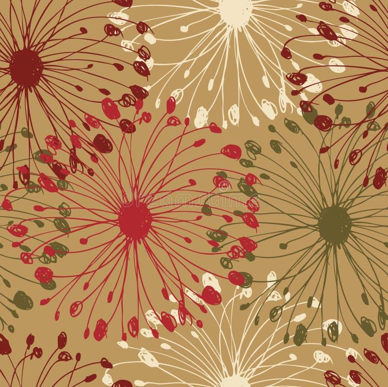 Kolorowego grunge promieniowy wzór Dekoracyjny kwiecisty bezszwowy tło dla kart, rzemiosła, tkanina, tapety, strony internetowe T ilustracja wektor