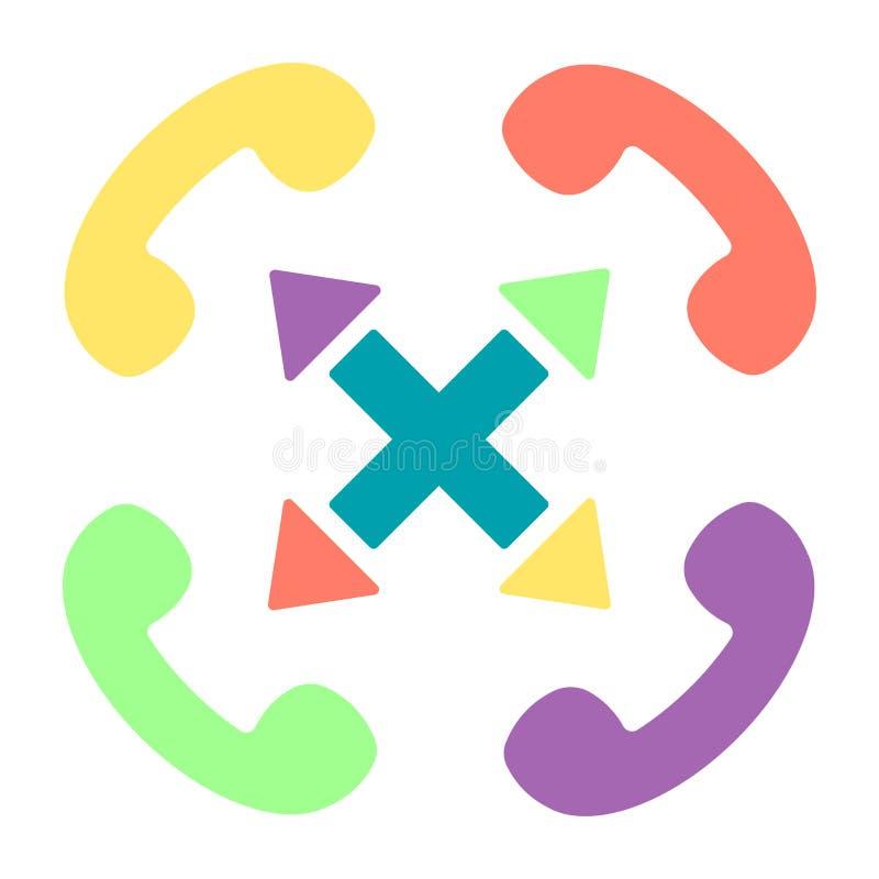 Kolorowego Handset płaska wektorowa ikona ustawiająca z krzyżem ilustracja wektor