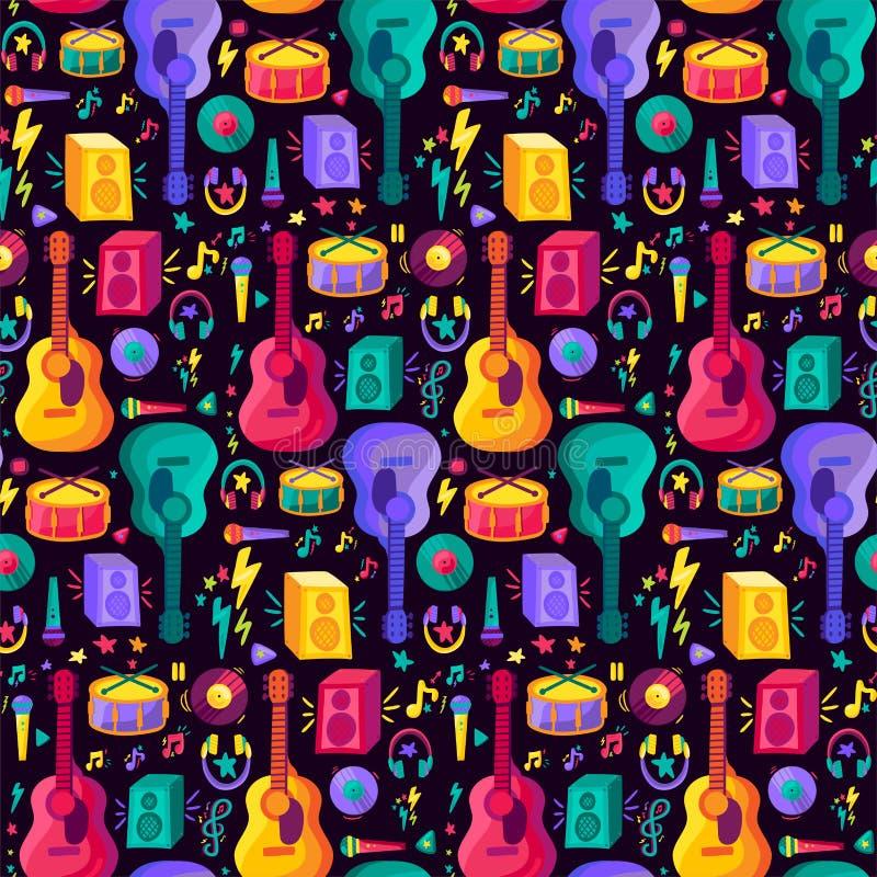 Kolorowego instrumentu muzycznego Płaski Bezszwowy wzór ilustracji