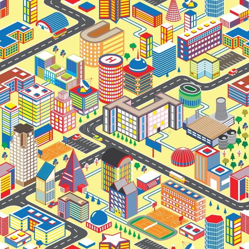 Kolorowego isometric miasta bezszwowy wzór Wektorowy ilustracyjny kreskówki miasteczka tło ilustracji