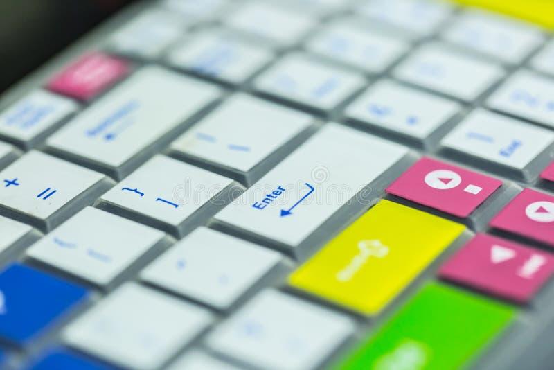 Kolorowego komputerowego klucza deskowej pokrywy zbliżenia makro- widok obraz royalty free
