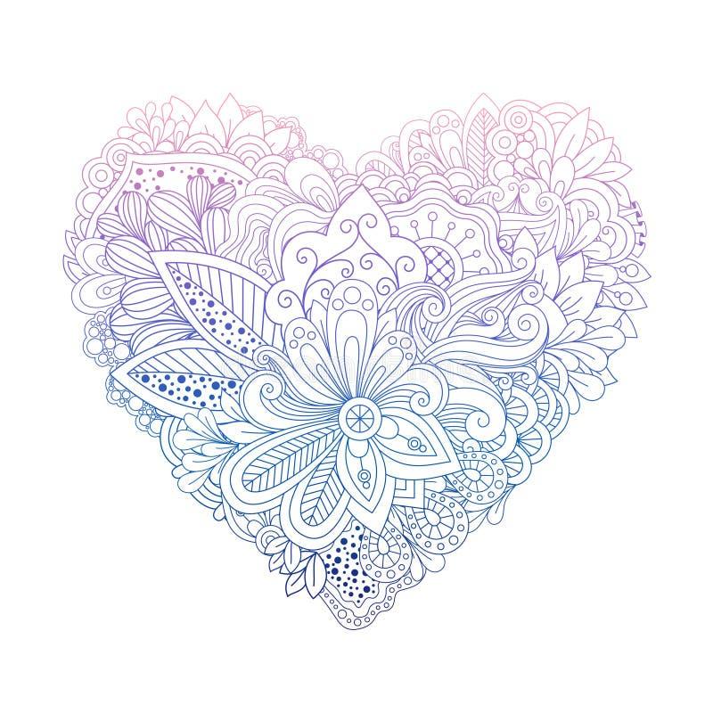 Kolorowego kwiecistego doodle kierowy kształt na bielu ilustracji